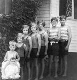 Hyannis Port, MA 1928. Eight of the nine Kennedy children pose for a photo. JFK is second from top.