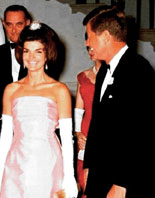 Jacqueline Kennedy and JFK at a State Dinner