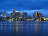 Boston City Lights and Sunset