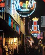 beale street at night on dark side of memphis tour