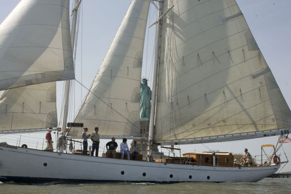 Sailing on a classic 82' yacht