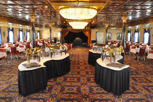 Dining about the riverboat