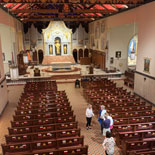 Tour stops include the choir loft, sacristy, confessional, baptistery, chapel and more