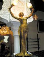 Victorian French Art Gilt Bronze Lamp